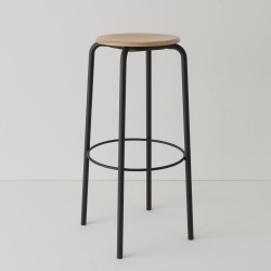 tabouret ht 80 cm tube + bois coloris noir RAL9017