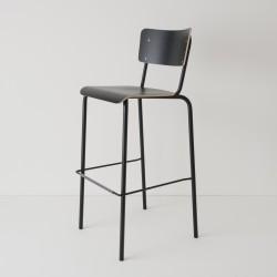 chaise haute 80cm en noir ton sur ton