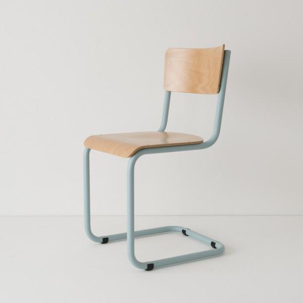 chaise cantilever tube + bois coloris bleu pastel RAL-design 210 70 10