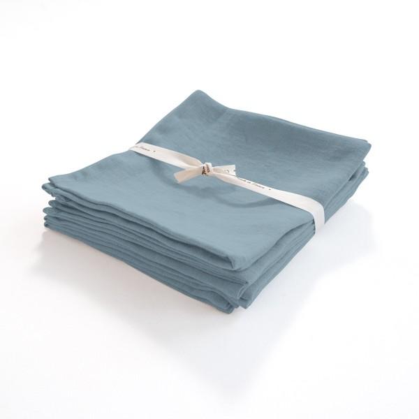 serviette en lin léger bleu-gris