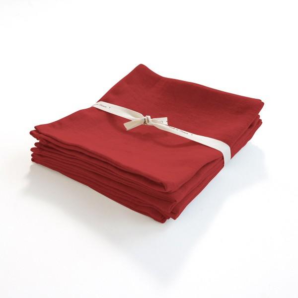 serviette en lin léger rouge fallun