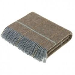 plaid laine naturelle carreaux taupe