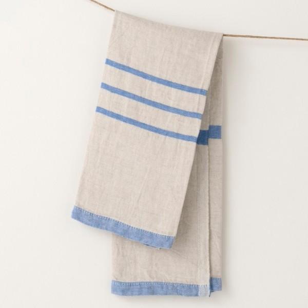 serviette PM lin gris bleu vif