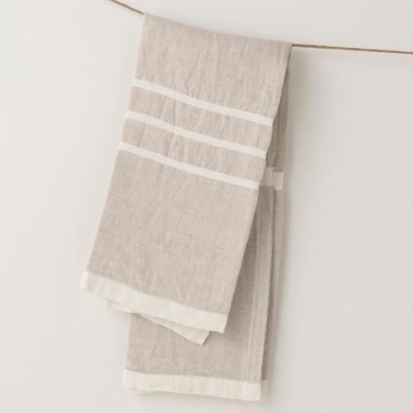 serviette PM lin gris crème