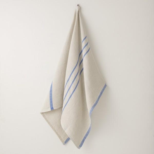 serviette MM/GM lin gris bleu vif