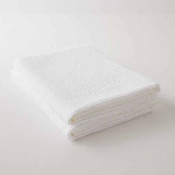 serviette lin lavé gaufré blanc