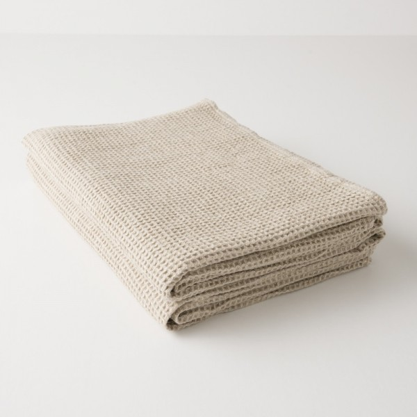 serviette lin lavé gaufré naturel