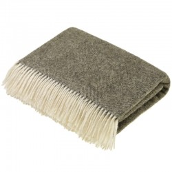 plaid laine naturelle chevrons taupe