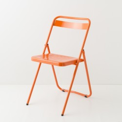 chaise pliante métallique orange