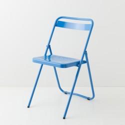 chaise pliante métallique bleue