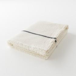 plaid laine blanc ligné noir