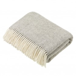 plaid laine naturelle chevrons gris