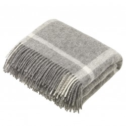 plaid laine naturelle carreaux gris