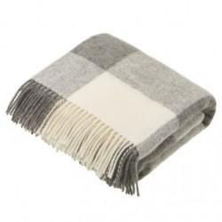plaid laine naturelle damier gris