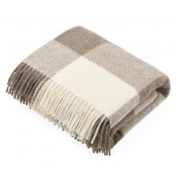 plaid laine naturelle damier beige