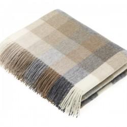 plaid laine Lambswool arlequin naturel
