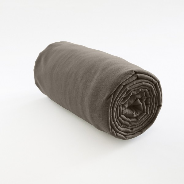 drap housse 100% lin taupe