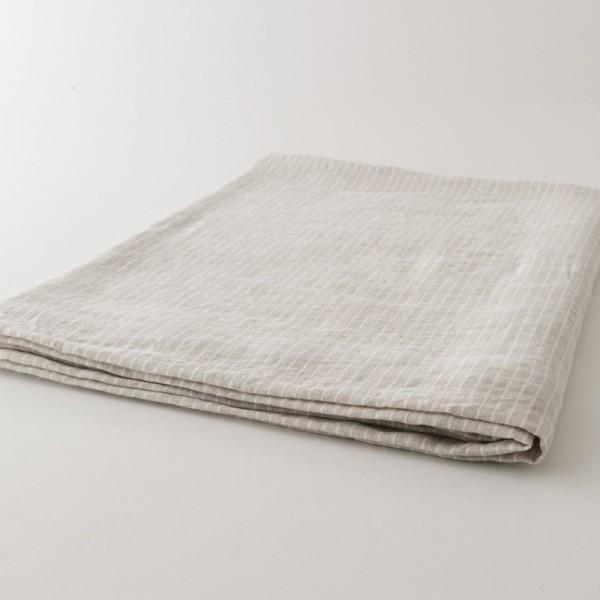 nappe en lin duo naturel rayé blanc de chez Charvet Editions