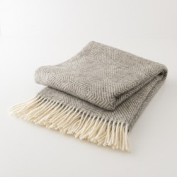 plaid laine naturelle losanges gris