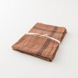 essuie-verres en lin noisette à carreaux de chez Charvet Editions