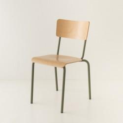 chaise écolier tube coloris kaki + bois