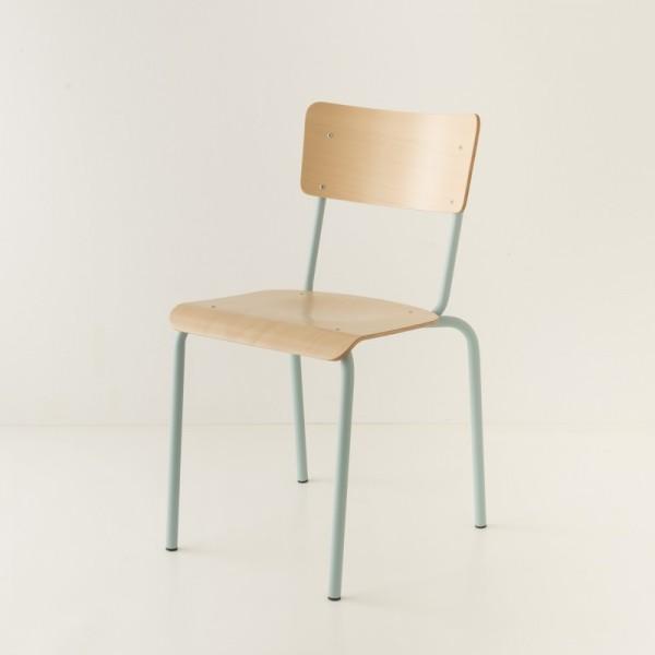 chaise écolier tube coloris bleu + bois