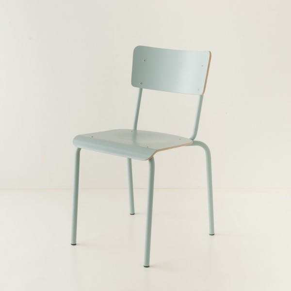 chaise tube 4 coloris + stratifié ton/ton bleu