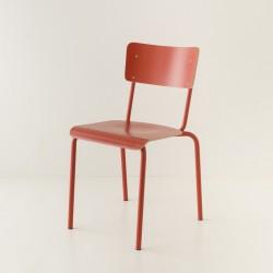 chaise tube 4 coloris + stratifié ton/ton rouge