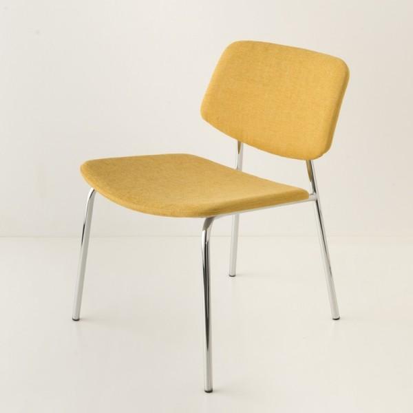 fauteuil Easy tube chrome + tissu coloris jaune