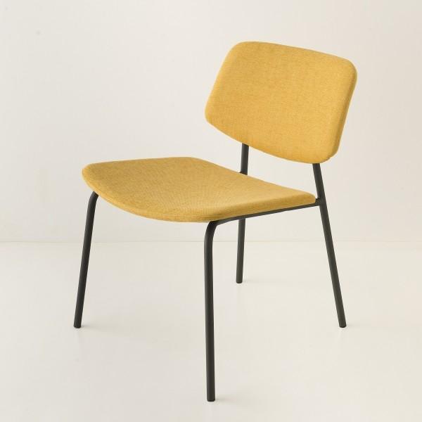fauteuil Easy tube noir + choix tissu jaune