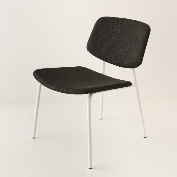 fauteuil Easy tube blanc tissu noir