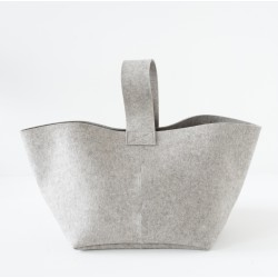 Panier a buches en feutre gris