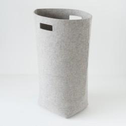 panier a linge feutre gris clair