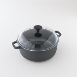 Cocotte ronde en fonte brute 4l