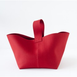 Panier a buches en feutre rouge