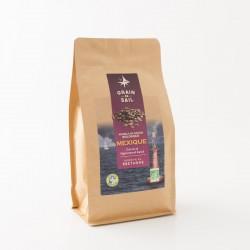 Café en grains du mexique bio de chez Grain de Sail en paquet refermable de 500 g