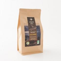 Café bio en grains de Colombie de chez Grain de Sail en paquet refermable de 500 g