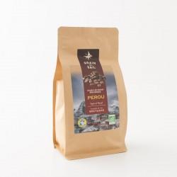 Café bio en grains du Pérou de chez Grain de Sail en paquet refermable de 500 g