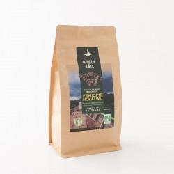 Café bio moka d'Ethiopie en grains de chez Grain de Sail en paquet refermable  de 500 g