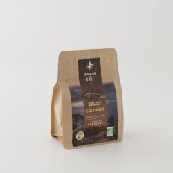 Café moulu bio de Colombie de chez Grain de Sail an paquet refermable de 250 g