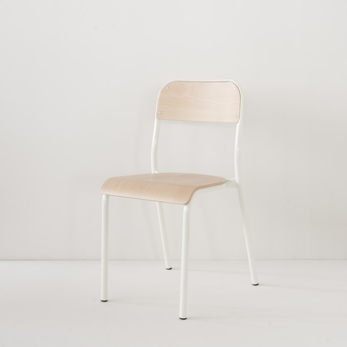 Chaise d'école Landmade coloris blanc