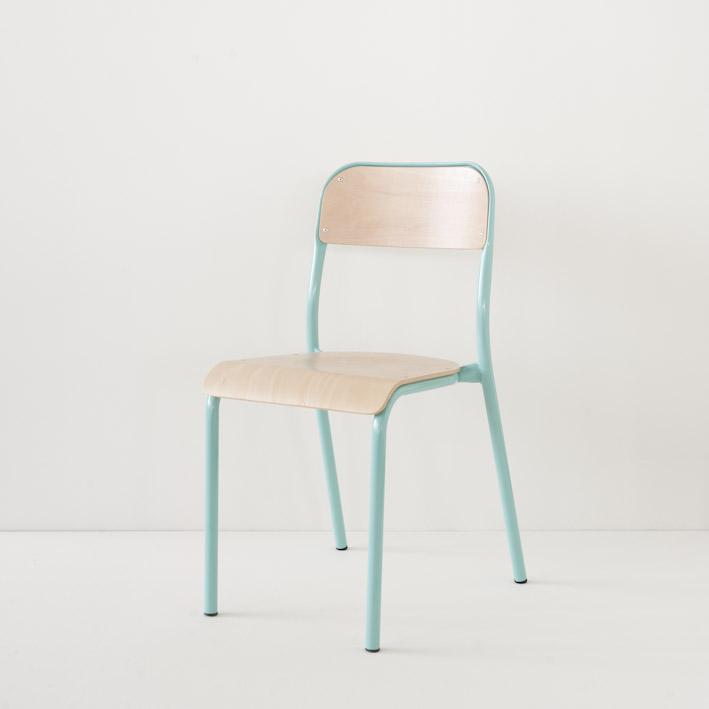 Chaise d'école Landmade coloris turquoise